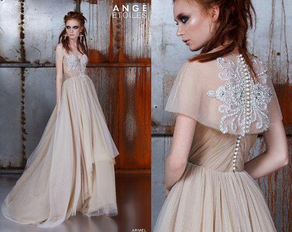 Wedding dress ARMEL champagne dress couture por RaraAvisAngeEtoiles