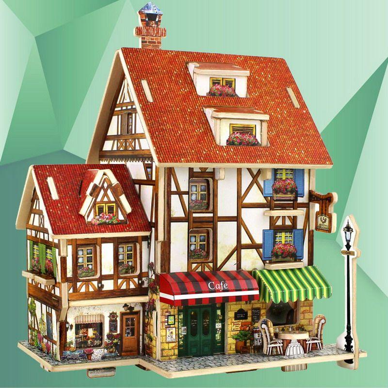 Awesome 3d Holz Puzzle Diy Modell Kinder Spielzeug Frankreich Französisch Stil  Kaffee Haus Puzzle, Puzzle 3d