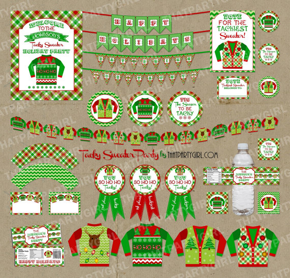 Tacky Sweater Christmas Party Ideas Part - 29: Ugly Sweater Holiday Party Package Decorations By Thatpartygirl, $35.00