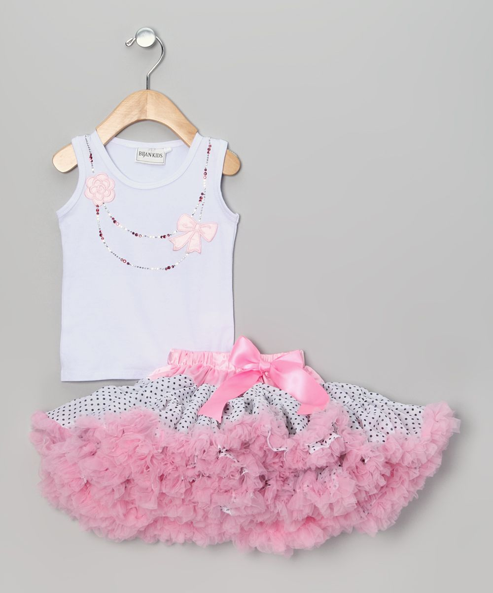 White & Pink Polka Dot Bow Tank & Pettiskirt - Toddler & Girls ...