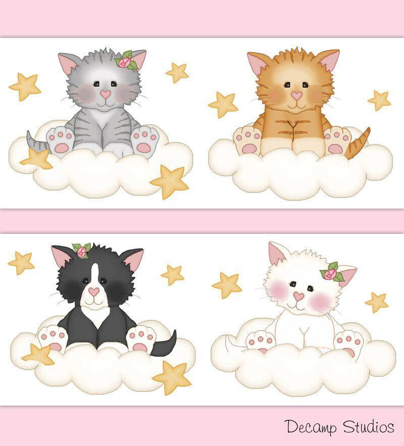 WALL STICKERS CAT Small Cat KITTEN Vinyl Decal Mural Sticker Girls Boys Room