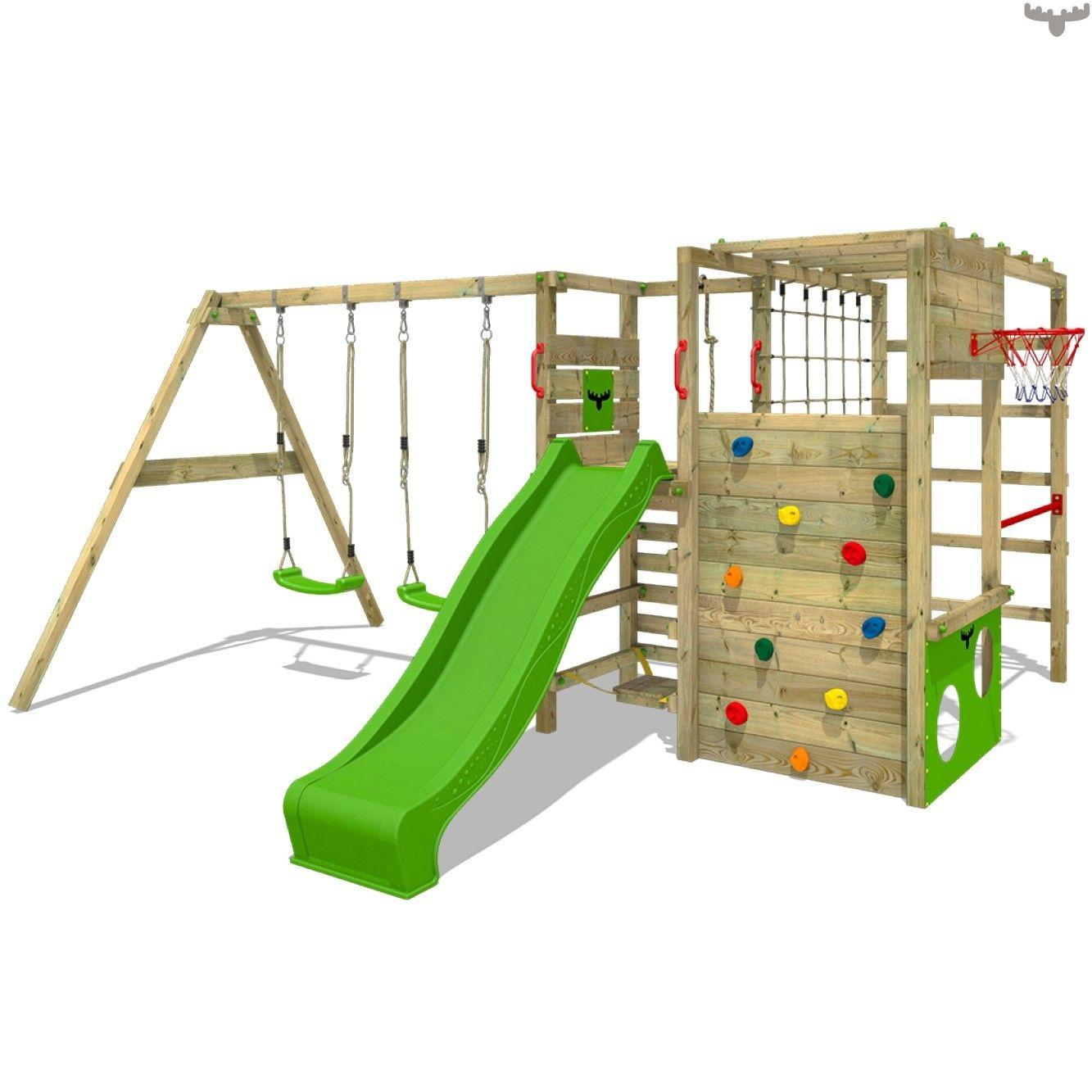 Dein Spielturm Fur Den Garten Nach Skandinavischem Design Spannende Aufbaumoglichkeiten Mit Rutsche Schaukel Sandkasten 10 Rutschkana Gungbrada Lekplats