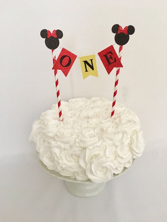 Minnie Mouse Cake Topper Glitter Banner Red Minnie Party Name Cake Topper Min First Birthday Cake Topper Minnie Mouse Birthday Mickey Mouse Birthday Party
