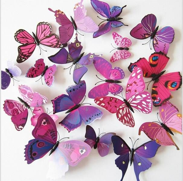 3d Vlinders Paars Roze Muurstickers Vlinder Kunst Slaapkamer Stickers