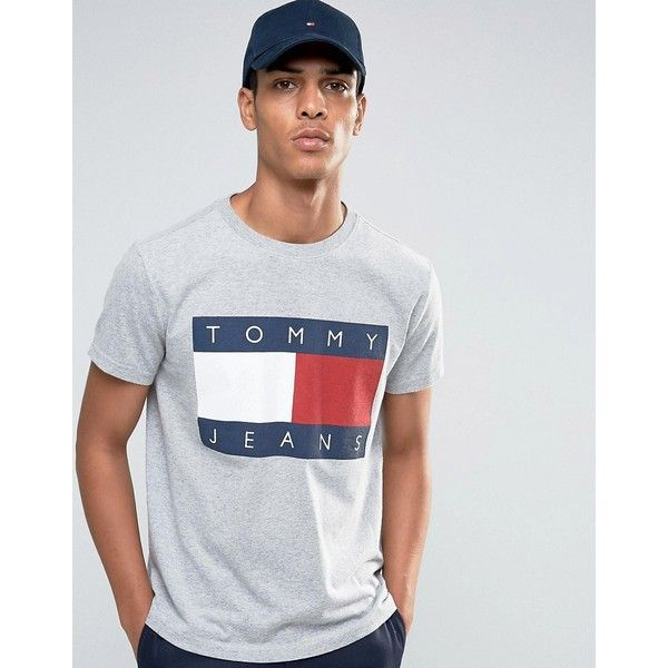 079775b86be 90s Shirts · Tommy Hilfiger · Men s Clothing · Fashion Online · Tommy Jeans  90s T-Shirt in Grey Marl (540 SEK) ❤ liked on