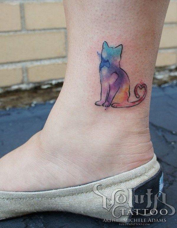 25 Beautiful Ankle Tattoo Ideas Watercolor Cat Tattoo Dog
