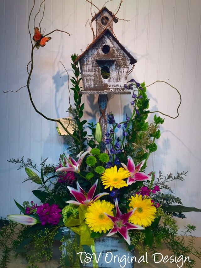 A Bright And Cheery Arrangement In A Keepsake Birdhouse