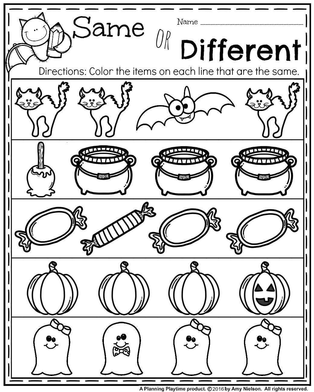 Halloween Worksheets For Kindergarten In