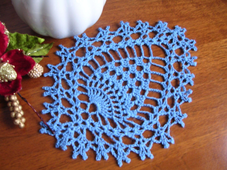 Copritavolo Uncinetto ~ Crochet lace doily lace coasters blu cotton appication napkin