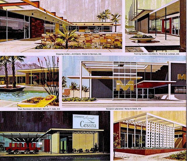 Midcentury Retro Style Modern Architectural Vintage