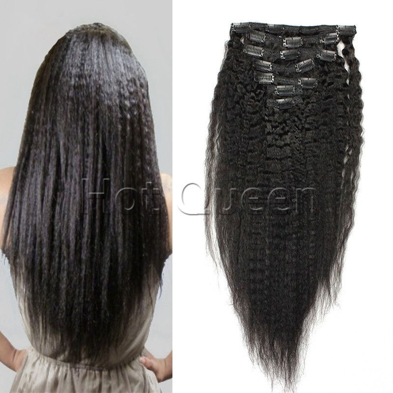 6a Hot Remy Clip In Human Hair Extensions Full Head Yaki Kinky