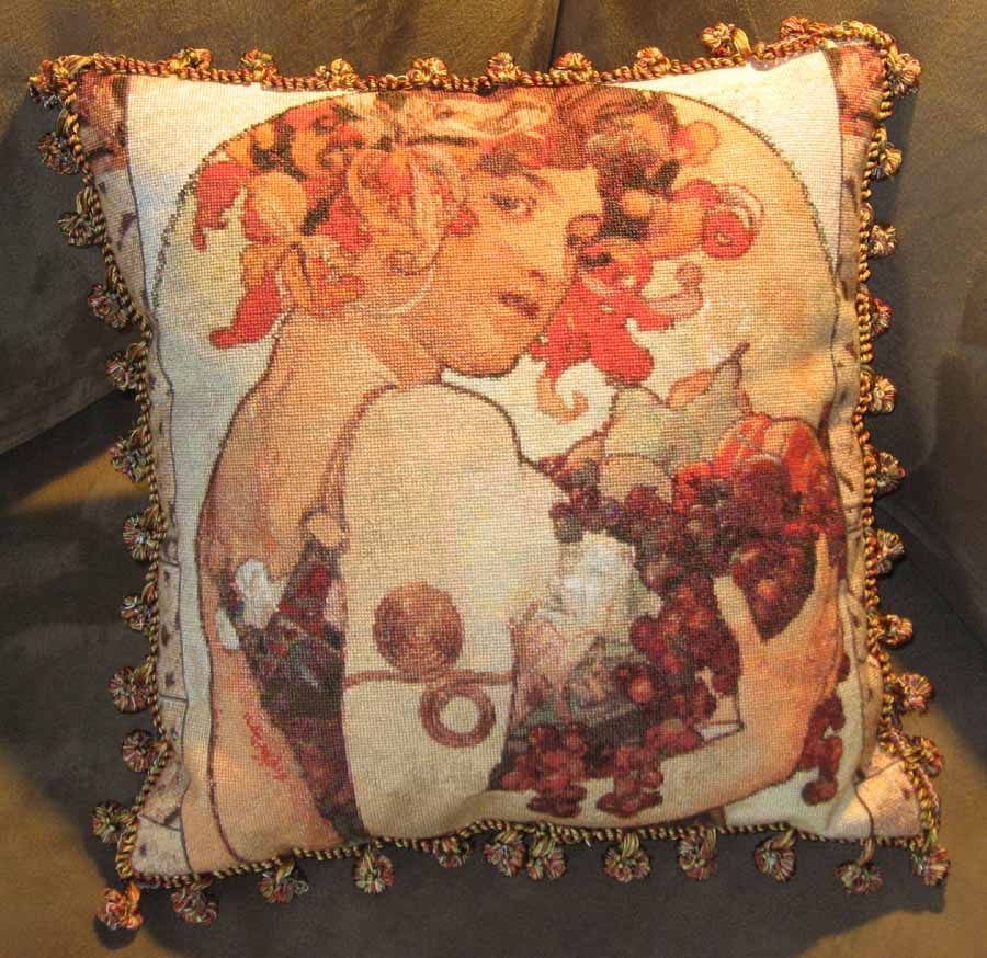 Square the design off and finish it as a cushion.  This is Fruit - Alphonse Mucha (by Scarlet Quince).