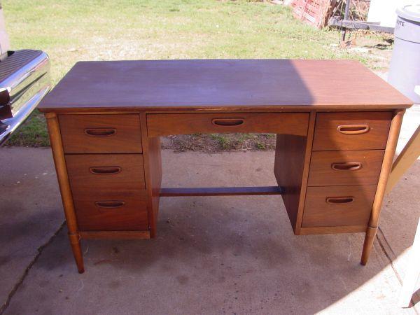 7-drawer center-seating Lane desk (walnut?) - $225 in ...