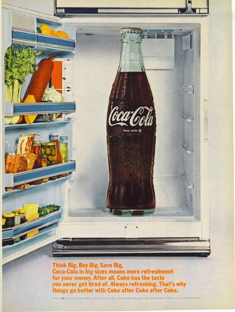 1966 AD Coke Coca Cola Big Sizes Think Save Ice Box Refrigerator