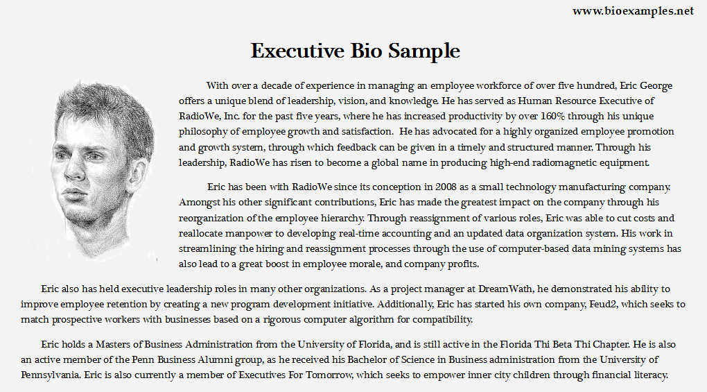 Executive Bio Example  Bio Examples  Pinterest  Examples and