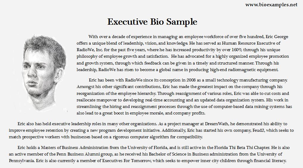 Executive Bio Sample Blogging Writing A Biography