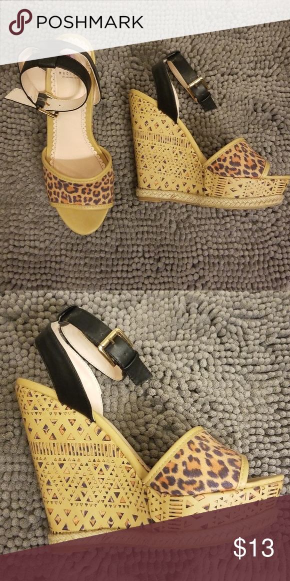 f3ebd0ba72be MADISON LEOPARD WEDGE M Madison by Shoedazzle Suede Leopard Fun wedge heel  design Like NEW! Shoe Dazzle Shoes Wedges
