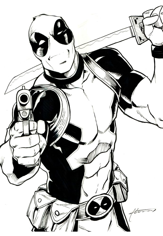 Marvel Deadpool Ausmalbilder Gratis: Deadpool Con Commission By BrianAtkins