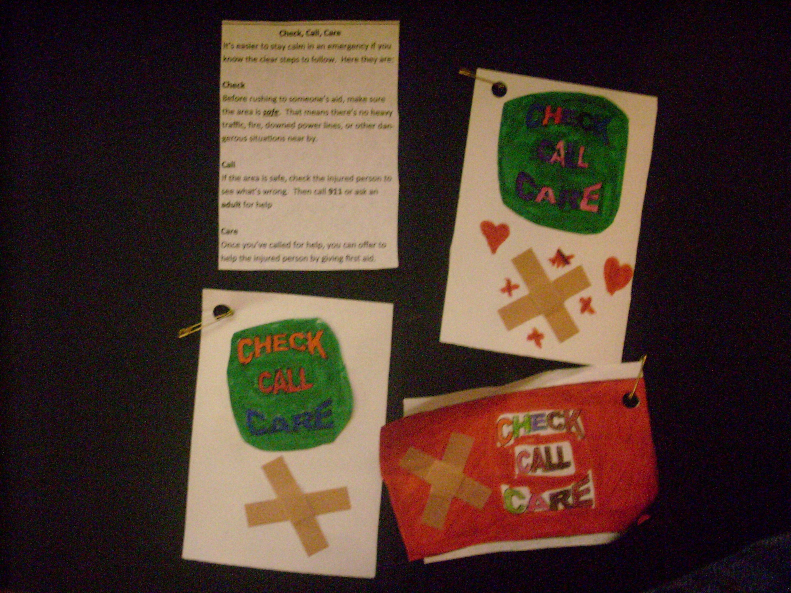 First Aid Swap. Check, Call, Care Girl scout swap, Girl