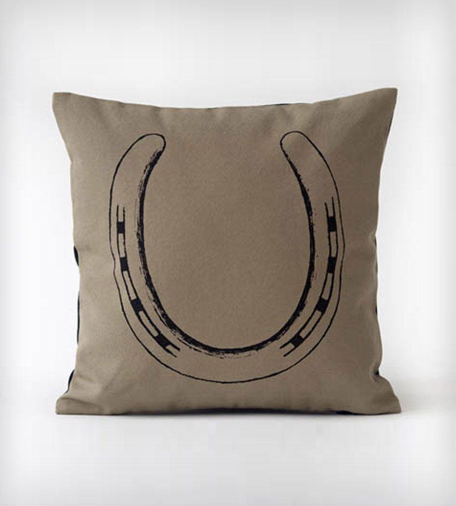 Black Horse Shoe Organic Cotton Pillow Home Decor Ortolan