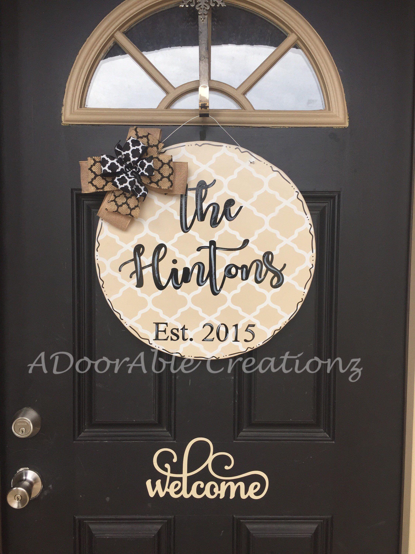 Family Name Established Door Hanger Great Wedding Gift Https Www Etsy Com Listing 596249451 Personalized Personalized Family Door Hangers Door Decorations