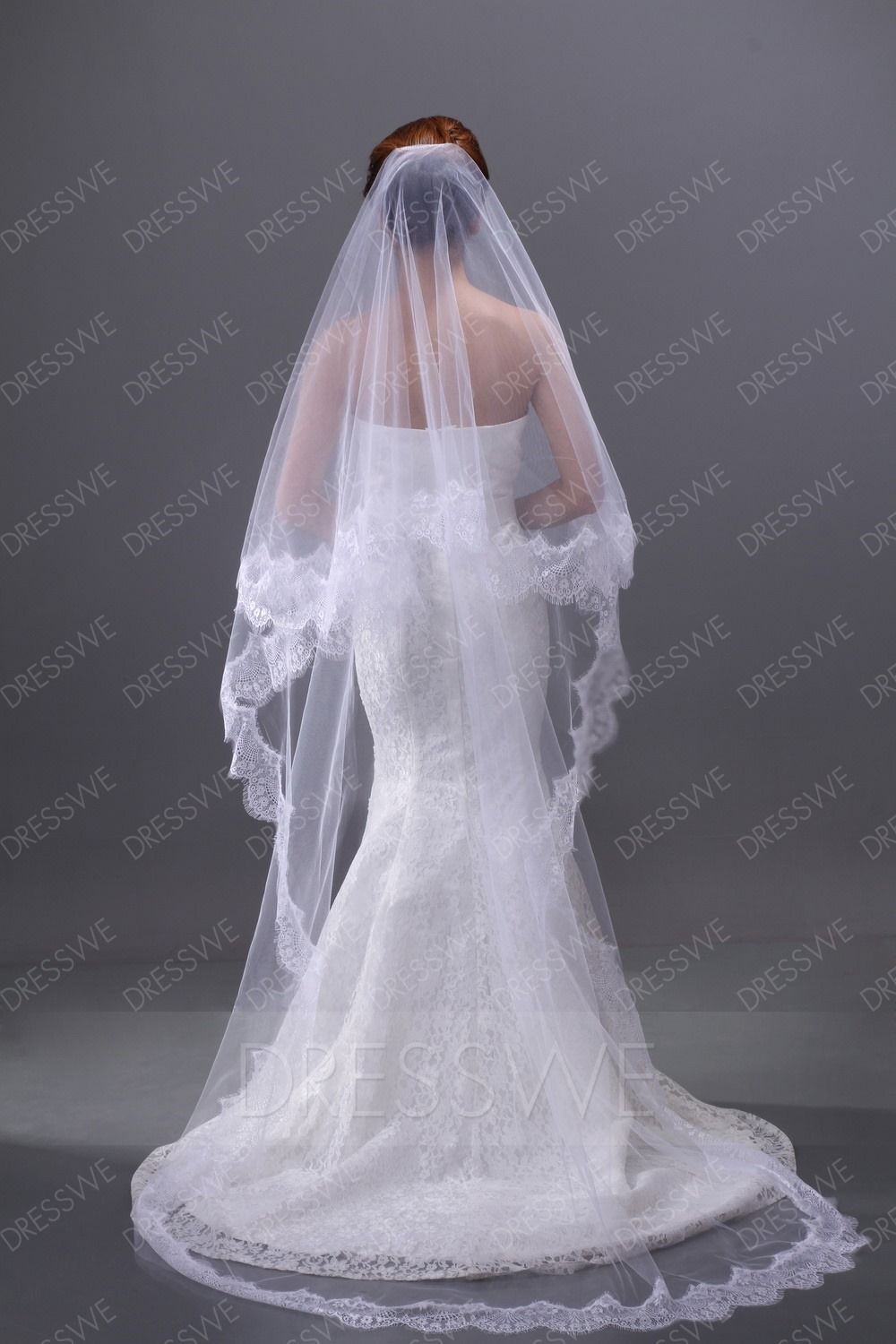 Buy Luxurious Lace Embellishments Cathedral Wedding Brail