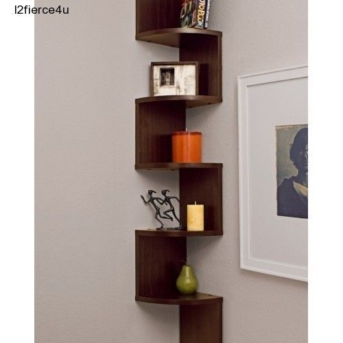 Large Staggered Corner Wall Mount 5 Level Shelf Zig Zag Shelving Books  Frames