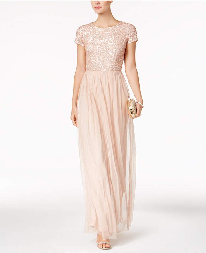 Adrianna Papell Sequined Tulle A-Line Gown#women dress casual #women ...
