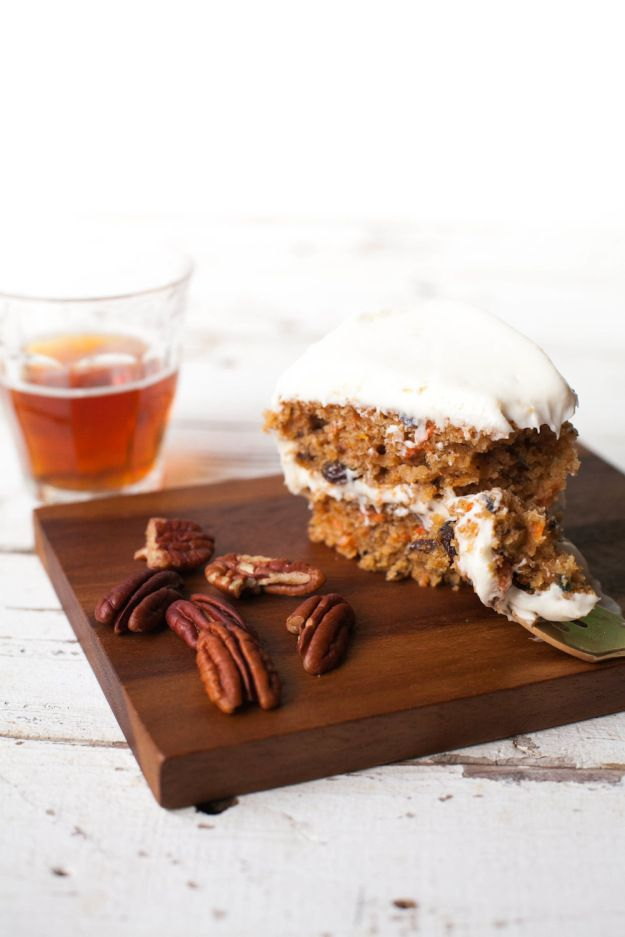 Amber ale carrot cake with spiked cream cheese frosting.