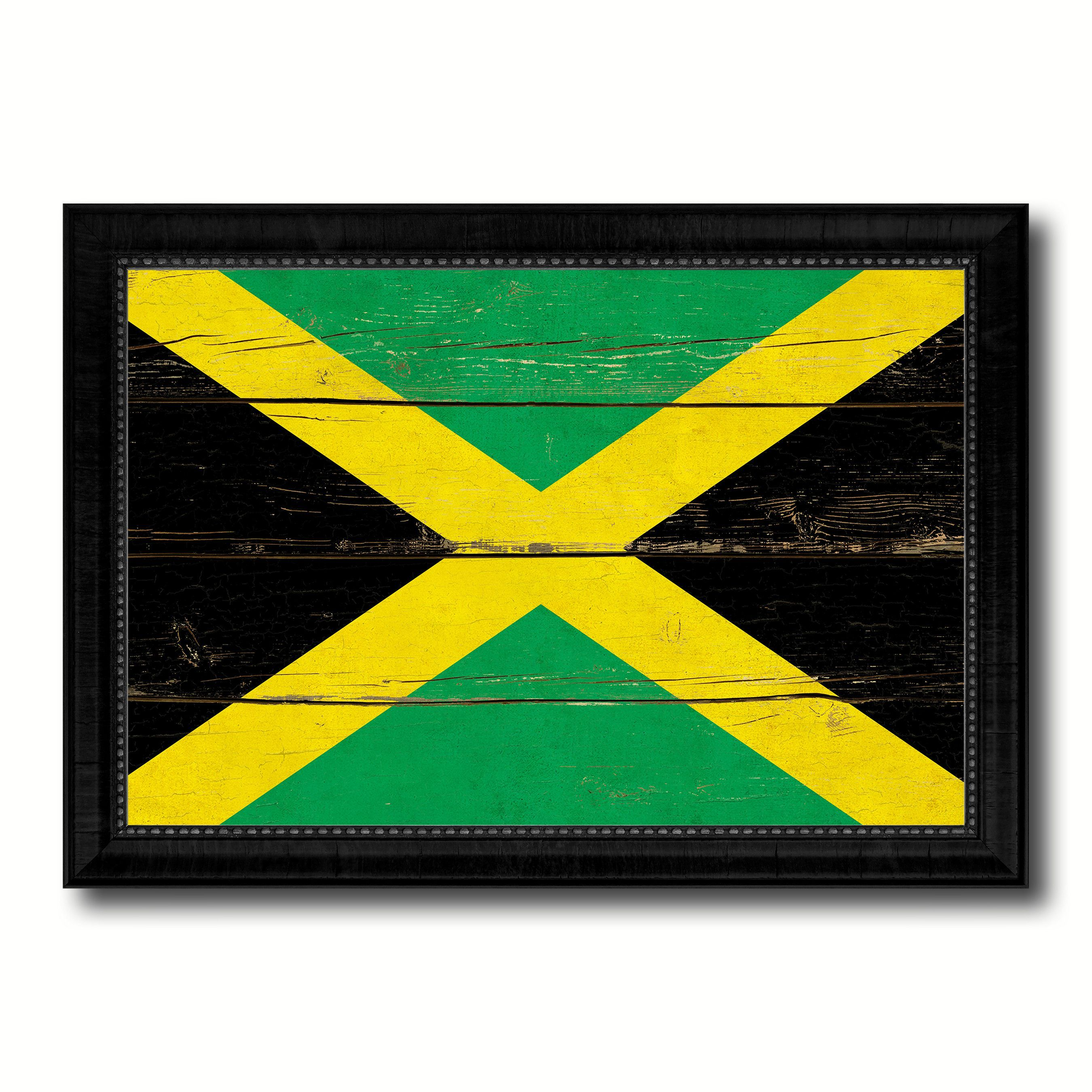 Jamaica Country Flag Vintage Canvas Print with Black Picture Frame ...