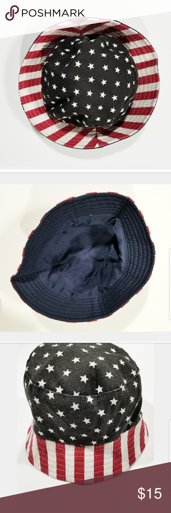 59181569ae2 Vintage Denim USA 92 90s American Flag Bucket Hat This awesome unisex denim  dark blackish blue