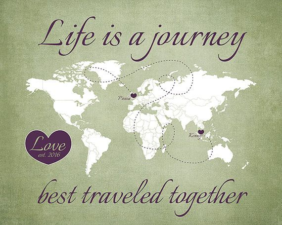 Long Distance Relationship Wedding Invitation: Long Distance, Love Map, Life Is A Journey, Travel Wedding