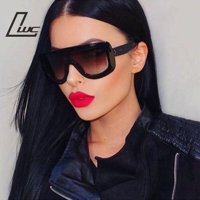 Oversized Sunglasses Women Rivet Brand Designer Celebrity Kim Kardashian  Sexy Sun Glasses for Women Flat Top Ladies Female ac699bc84