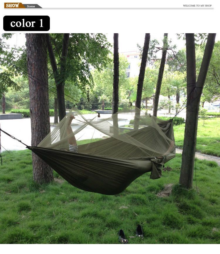 portable high strength parachute fabric camping hammock hanging bed with mosquito   sleeping hammock portable high strength parachute fabric camping hammock hanging      rh   pinterest