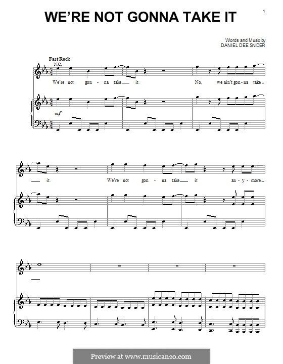 we're not gonna take it (twisted sister) by d.d. snider on musicaneo |  twisted sister, sheet music, all video  pinterest