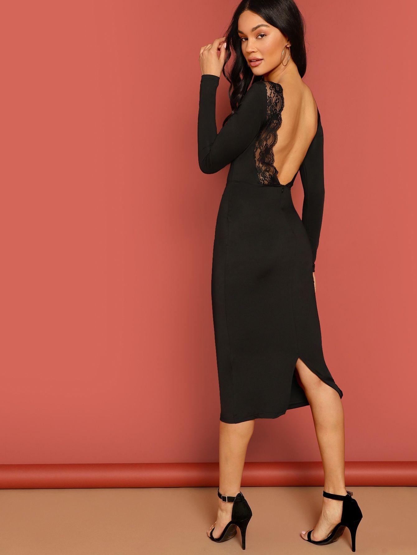 Lace Trim Backless Split Bodycon Dress Shein Usa In 2021 Bodycon Dress Dresses Fashion [ 1785 x 1340 Pixel ]
