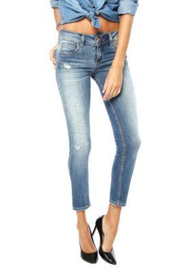 Calça Jeans Colcci Puídos Skinny Azul