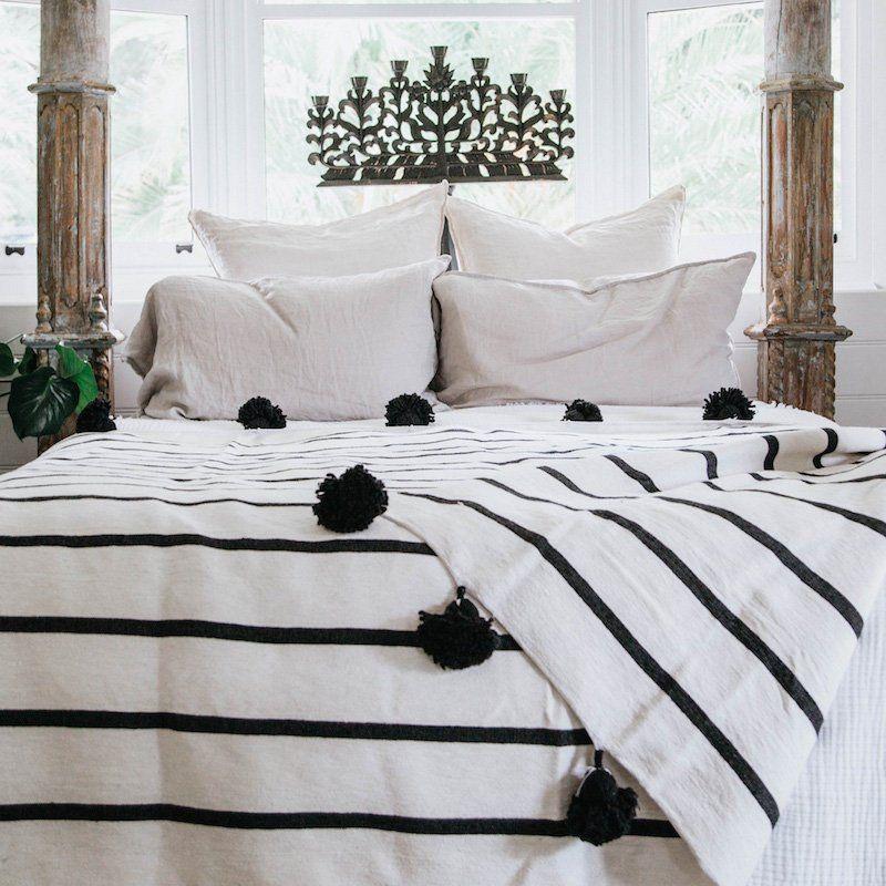 Moroccan Pompom Blanket Pom Poms Boho Blanket Bed Cover White