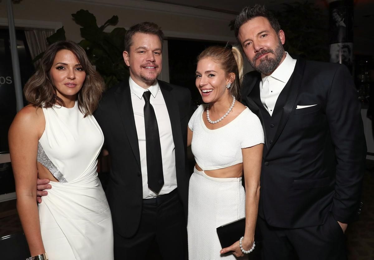 Matt Damon, his wife Luciana Barroso, Sienna Miller and Ben Affleck teamed up at Amazon Studios Golden Globes Celebration at The Beverly Hilton Hotel on Jan. 8, 2017 in Beverly Hills, California.