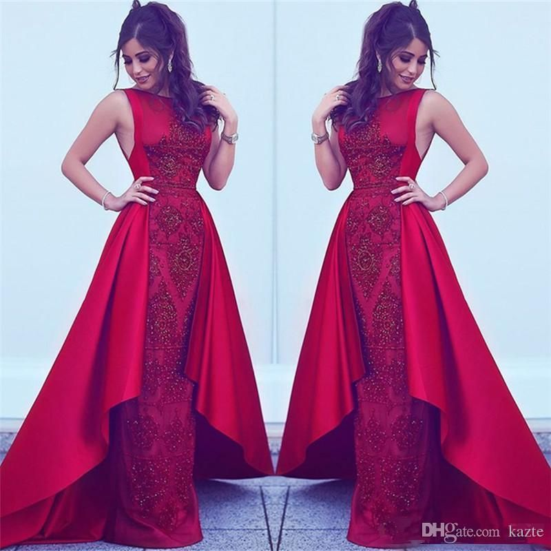 2018 Formal Red Evening Dresses with overskirt Dubai Arabic Styles ...