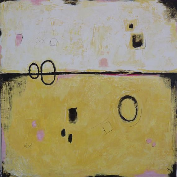 Abstract Painting Yellow Modern Wall Art Minimalistic Acrylic ...