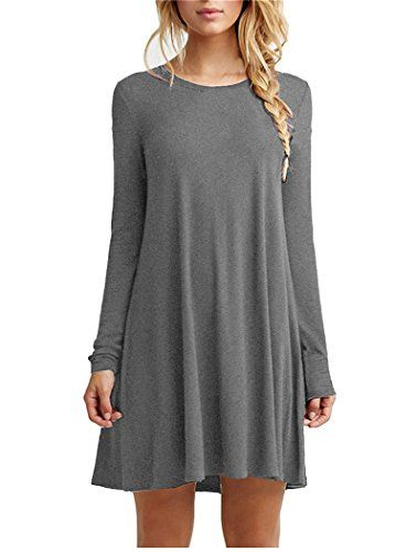 Bluetime Womens Basic Long Sleeve Casual Loose TShirt Dress XL Gray * Click image to review more details.