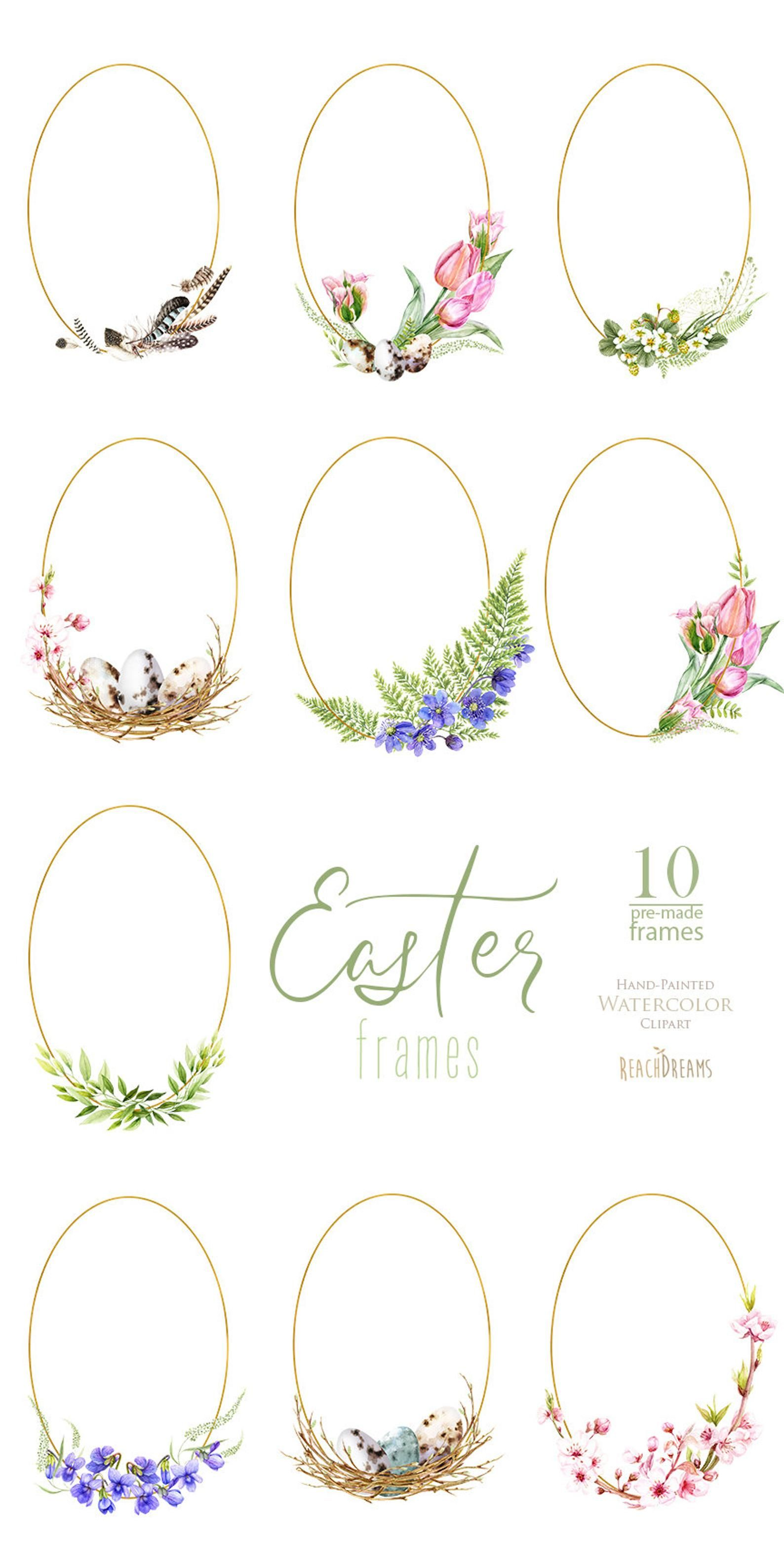 Easter Watercolor Clipart, Frames, Eggs, Floral, Feathers, nest, flowering, spring flowers, Easter tulips, sakura, Easter greeting cards