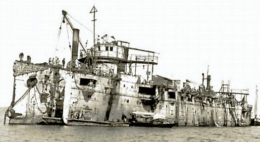 Varyag after being salvaged by the Japanese.