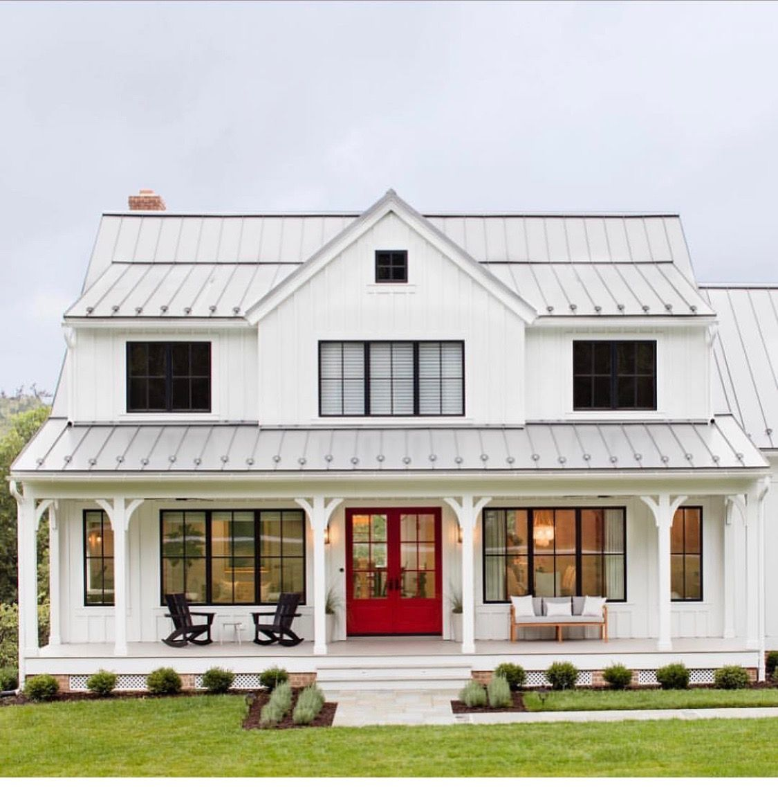 Best White Exterior Light Grey Metal Roof Bright Red Door 400 x 300