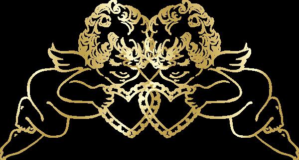 Christmas Angel Transparent Png Clip Art Image: Прозрачные Золотые Ангелы с сердцем Декоративный орнамент
