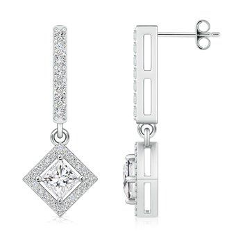 Angara Princess Cut Diamond Earrings in Platinum EVazc9B