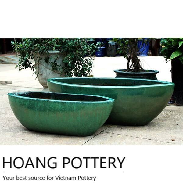 Oval Glazed Ceramic Flower Pots Outdoor