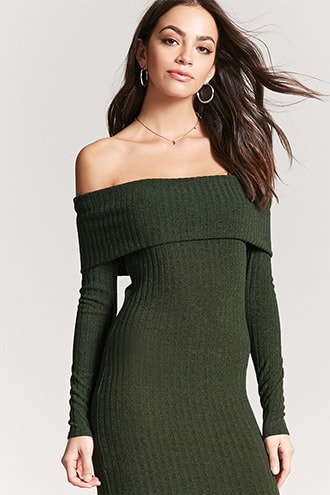 4d2f829034a42 Off-the-Shoulder Sweater Dress | Forever 21 | Green | Dresses, Green ...