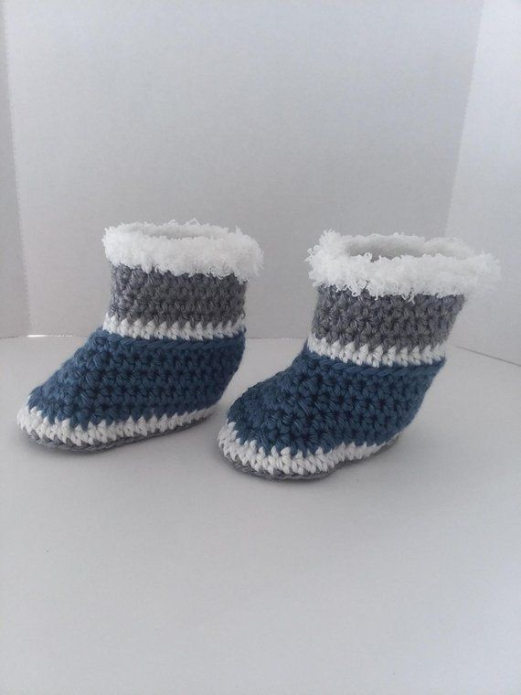 88e6f06ca97f7 Gray Blue and White Crochet Baby Boots, Crochet Baby Booties, Baby ...